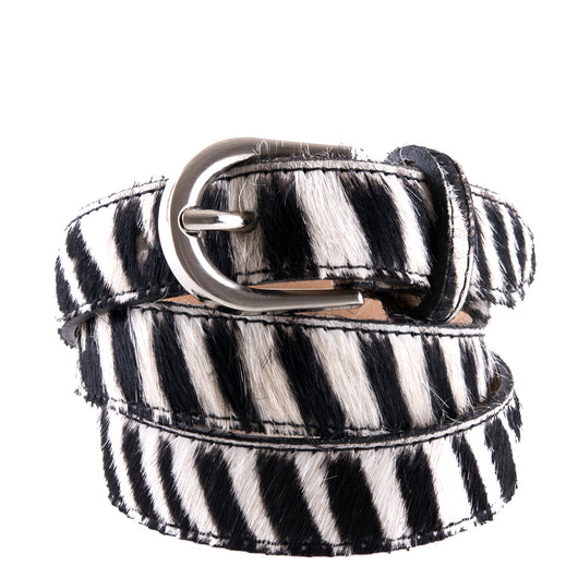 Zebra Cow Hair and Real Leather Narrow Belt - Amilu