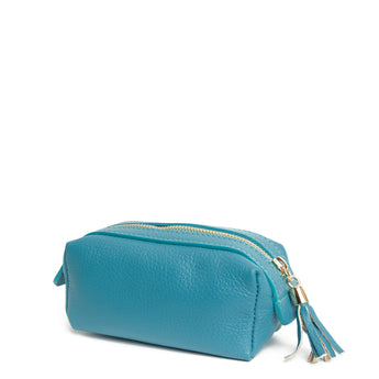Turquoise Real Leather Cosmetic Bag