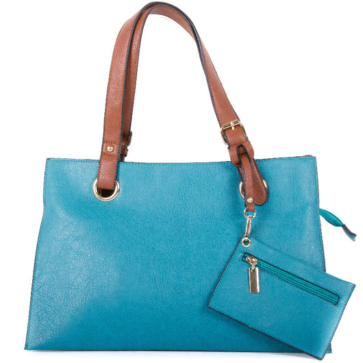 Turquoise Faux Leather Divided Shopper Bag