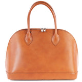 Tan Real Leather Large Vintage Bowling Bag