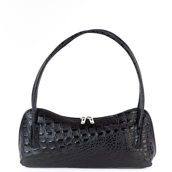 Black Croc Real Leather Shoulder Bag - Amilu