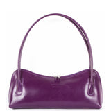 Purple Real Italian Leather Shoulder Bag