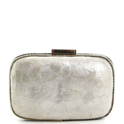 White Mother of Pearl Box Clutch Bag - Amilu