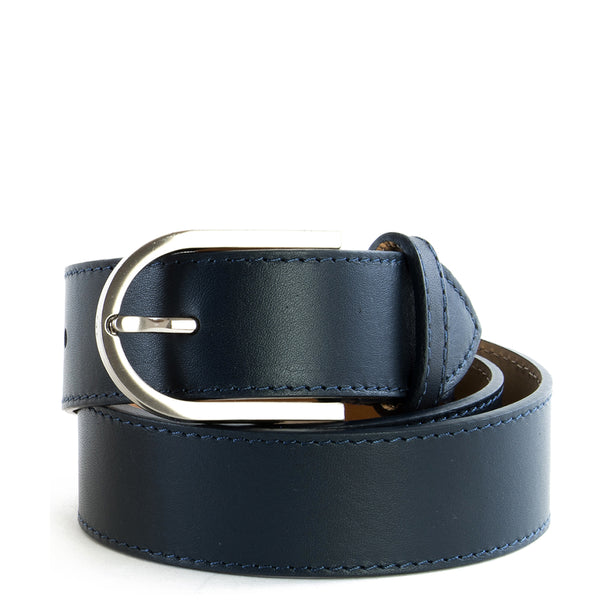 Navy Real Italian Leather Wide Belt - Amilu