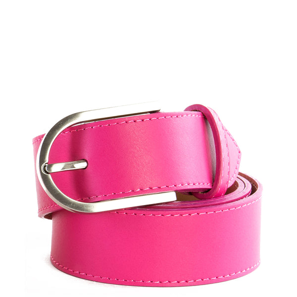 Pink Real Italian Leather Wide Belt