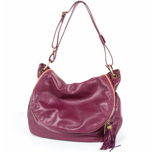 Wine Real Nappa Leather Saddle Bag