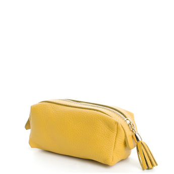 Yellow Real Leather Cosmetic Bag