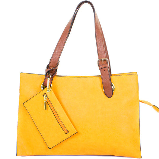 Yellow Faux Leather Shopper Tote Bag - Amilu