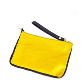 Yellow Real Leather & Cow Hair Clutch Bag