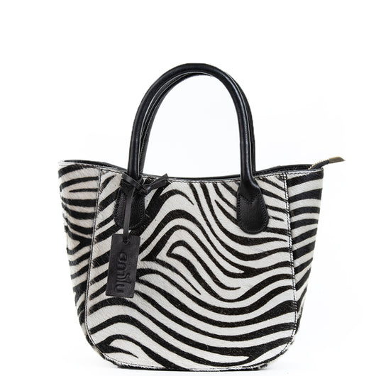 Zebra Cow Hair Small Grab Bag