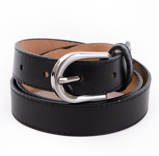 Black Real Italian Leather Narrow Belt - Amilu