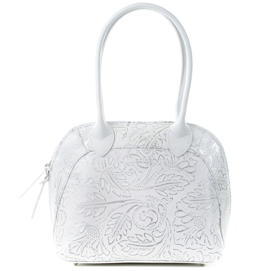 Florens White Silver Leather Shoulder Tote Bag