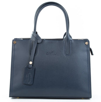Navy Real Textured Ruga Leather Grab Tote Bag Front - Amilu