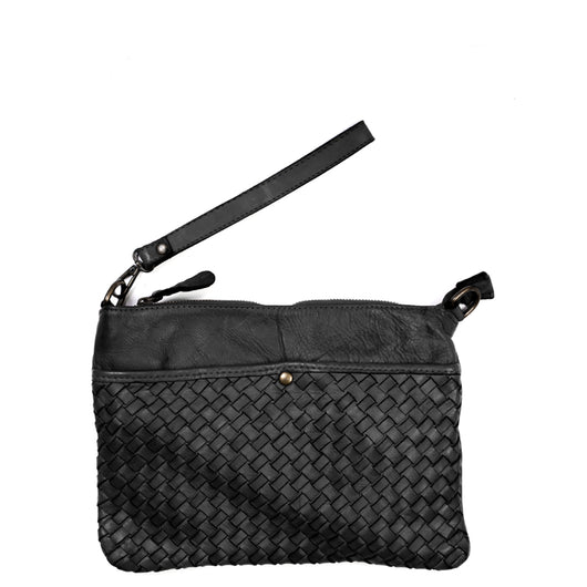 Black Real Italian Woven Leather Cross Body Bag
