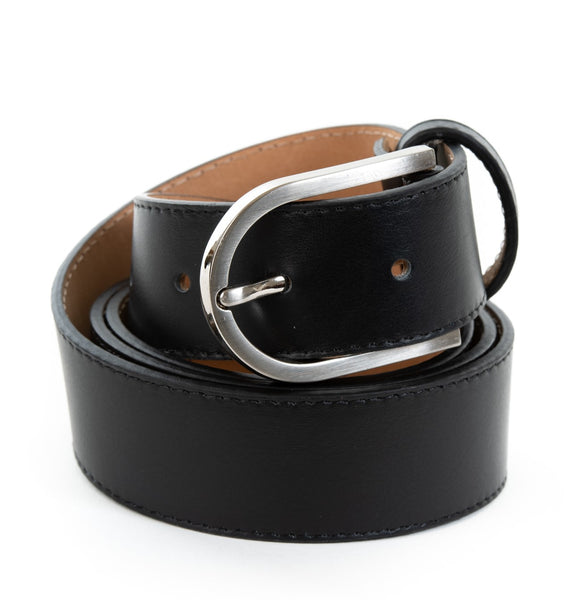 Black Real Italian Leather Wide Belt - Amilu