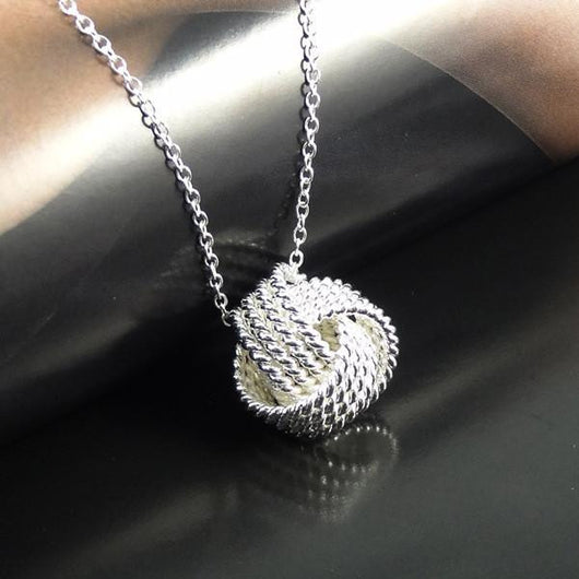 Silver plated rose ball shaped pendant - Fabstyle Company