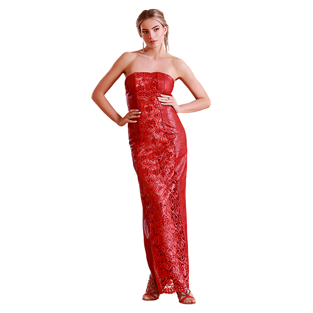 Sequin Lace Perforated Reindeer Leather Evening Dress- Limited Edition