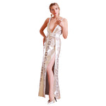 Sequin Lace Silver Foil Reindeer Leather Evening Dress- Limited Edition