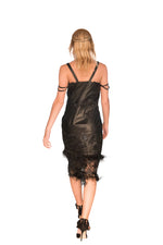 Sequin Lace Ostrich Feathers Reindeer Leather Evening Dress- Limited Edition