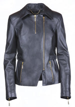Asymmetric Fitted Reindeer Leather Jacket -  Limited Edition