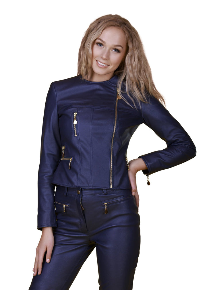 Asymmetric Zippered Reindeer Leather Jacket- -  Limited Edition