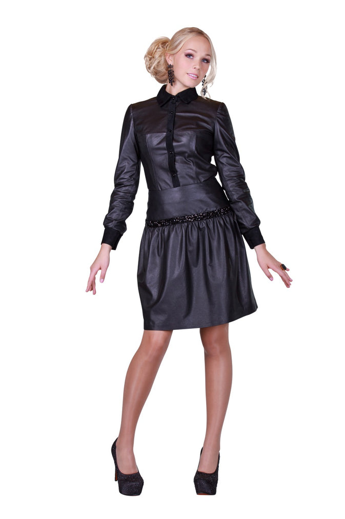 Black Rhinestones Reindeer Leather Skirt -  Limited Edition