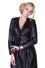 Black Rhinestones Sleeves Reindeer Leather Jacket -  Limited Edition