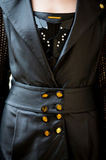 Black Sleeve Perforated Reindeer Leather Trench -  Limited Edition