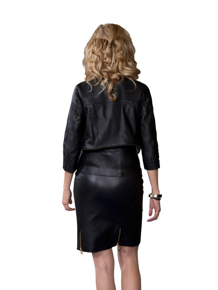 Zippered Pencil Reindeer Leather Skirt- Limited Edition