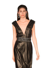 Crystal Adorned Belt Deep V Neck Reindeer Leather Evening Dress -  Limited Edition