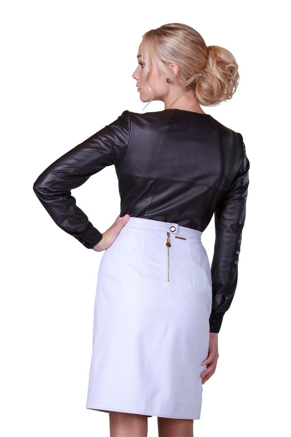 Draped Rhinestones Reindeer Leather Skirt -  Limited Edition