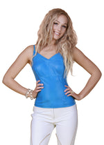 Fitted V Neck Reindeer Leather Top -  Limited Edition