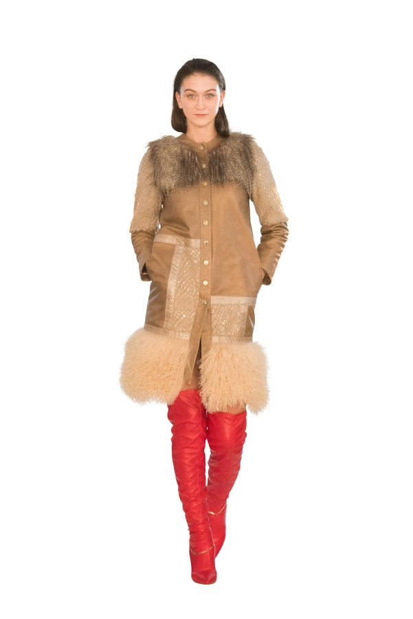 Fur Collage Reindeer Embossed Stripes Reindeer Leather Trench -  Limited Edition