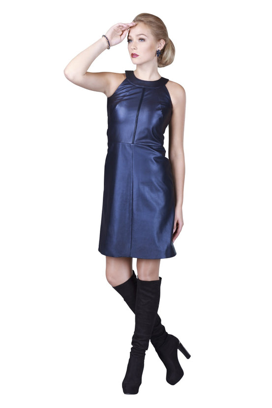 Halter Neck Sleveless Reindeer Leather Dress -  Limited Edition