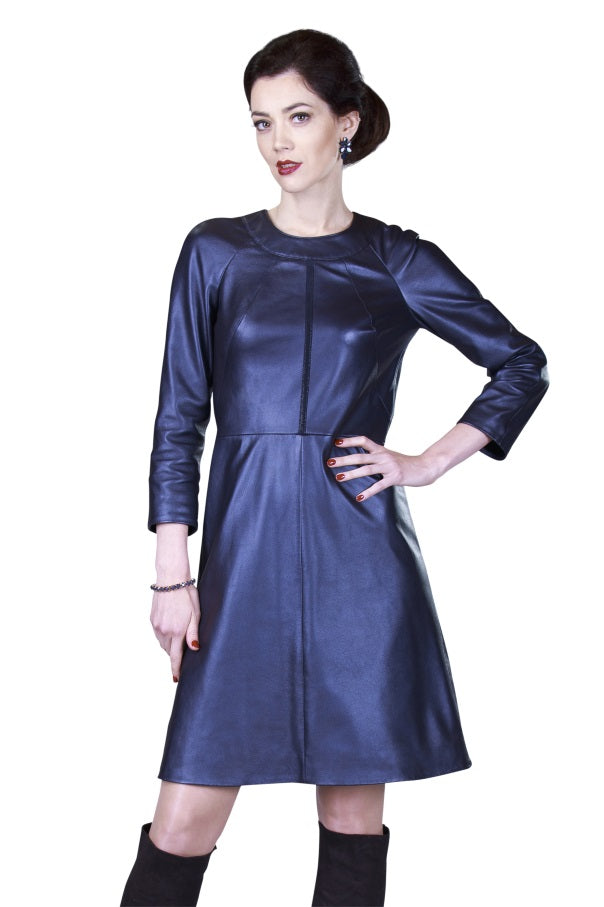 Halter Neck Trimmed Reindeer Leather Dress -  Limited Edition