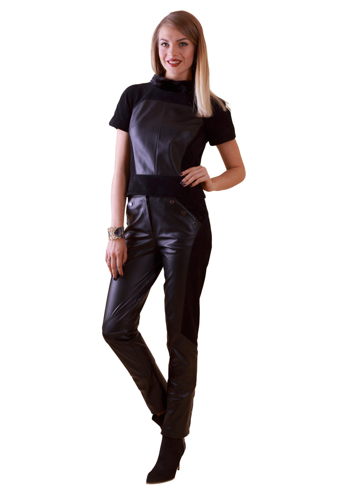 Suede Mink Reindeer Leather Blouse- Limited Edition