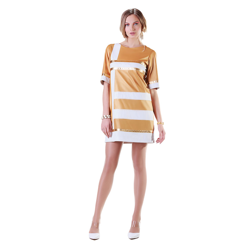 Asymmetric Paneled Shift Reindeer Leather Dress -  Limited Edition