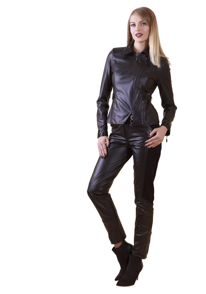 Asymmetric Fitted Embossed Snakeskin Reindeer Leather Jacket -  Limited Edition
