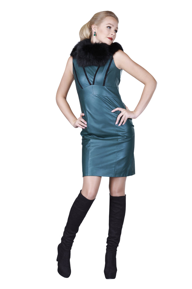 Green Trimmed Reindeer Leather Dress -  Limited Edition