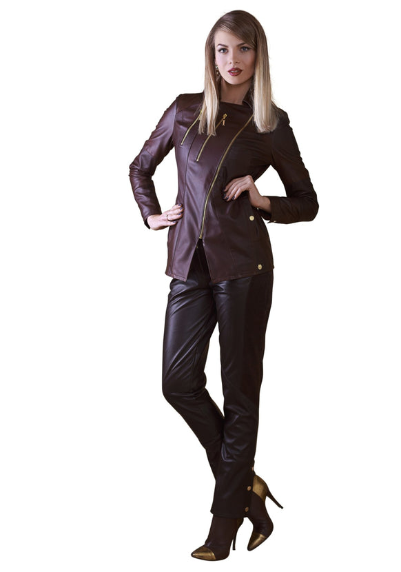 Asymmetric Reindeer Leather Long Jacket -  Limited Edition