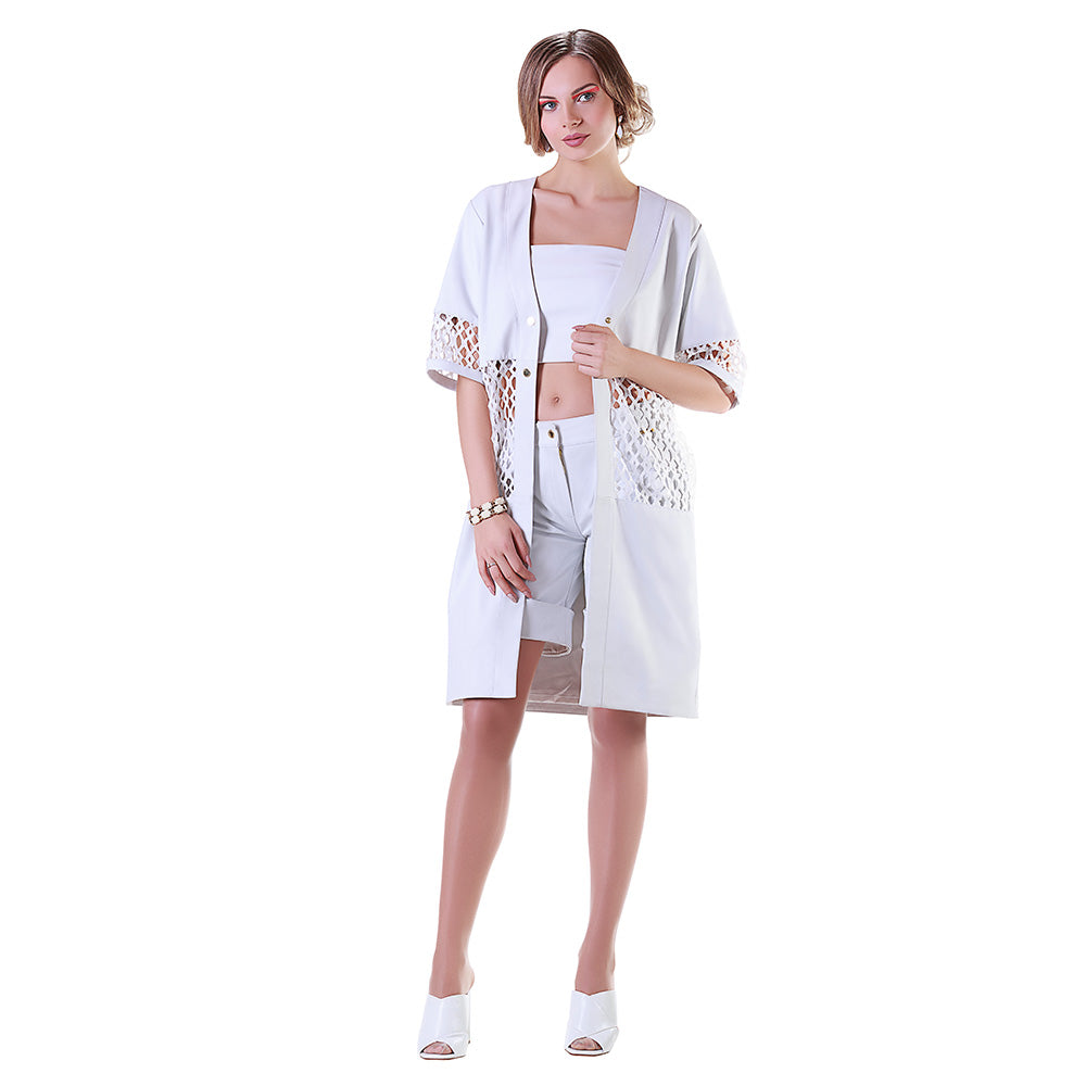 White Sequin Reindeer Leather Summer Trench- Limited Edition
