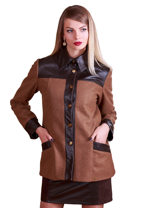 Merino Wool Winter Reindeer Leather Jacket- Limited Edition