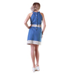 Laser Cut Reindeer Leather Panel Denim Dress -  Limited Edition