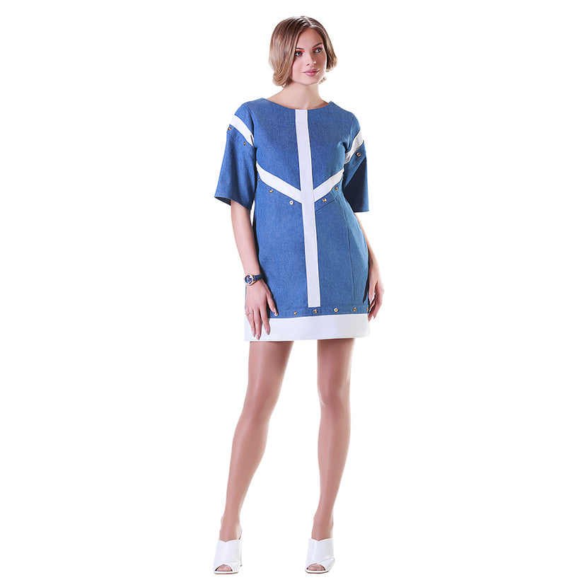 Reindeer Leather Trimmed Denim Dress- Limited Edition