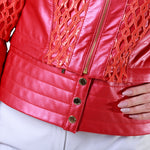Removable Pannel Lace Sequin Reindeer Leather Jacket- Limited Edition