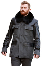 Men Wool Fox Collar Reindeer Leather Jacket -  Limited Edition