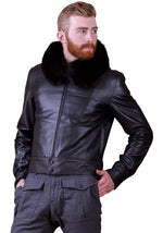 Men Fox Collar Reindeer Leather Jacket -  Limited Edition