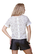Laser Cut Reindeer Leather Blouse -  Limited Edition