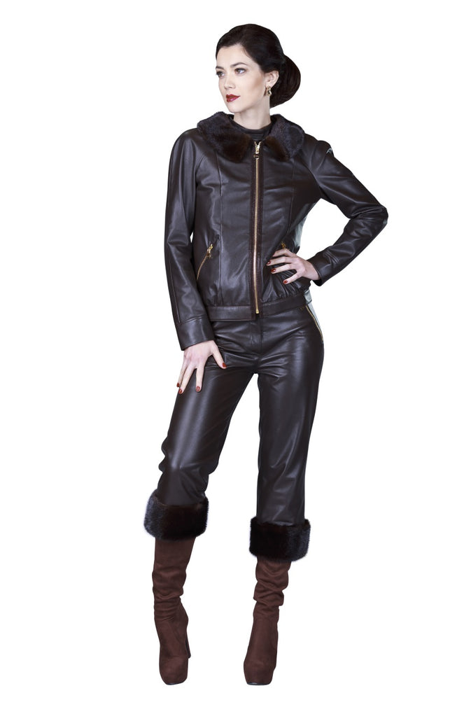 Mink Bomber Reindeer Leather Jacket- Limited Edition