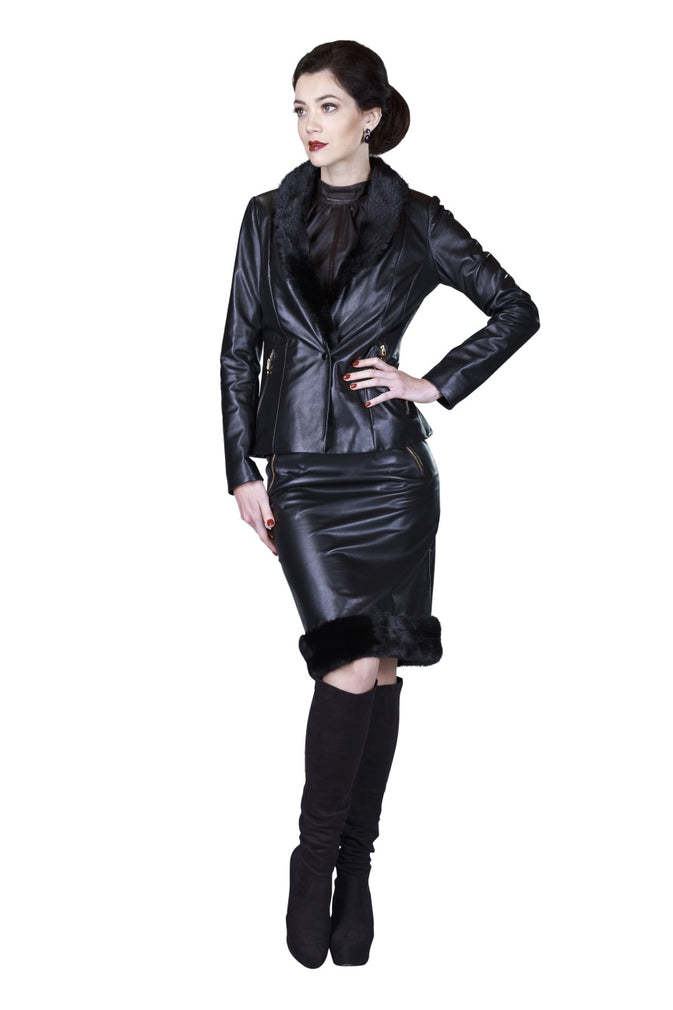 Mink Hem Pencil Reindeer Leather Skirt- Limited Edition